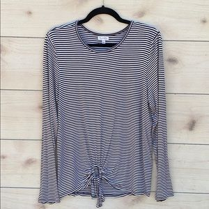 Stretchy Knit Black White Stripe Long Sleeve Top